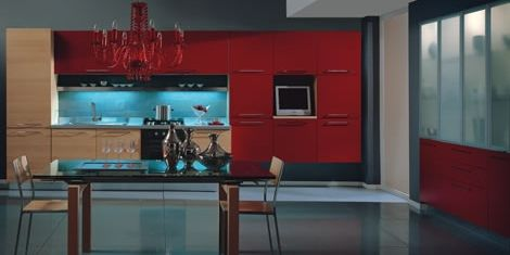 Axis Cucine Sipper collection kitchen cabine modular ystem red and light wood finish.