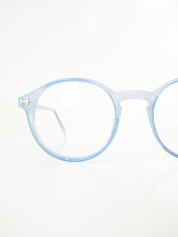 cdc2391fbe29 Vintage Blue Round Eyeglasses 1960s P3 Womens Glasses Frames Deadstock  Optical…