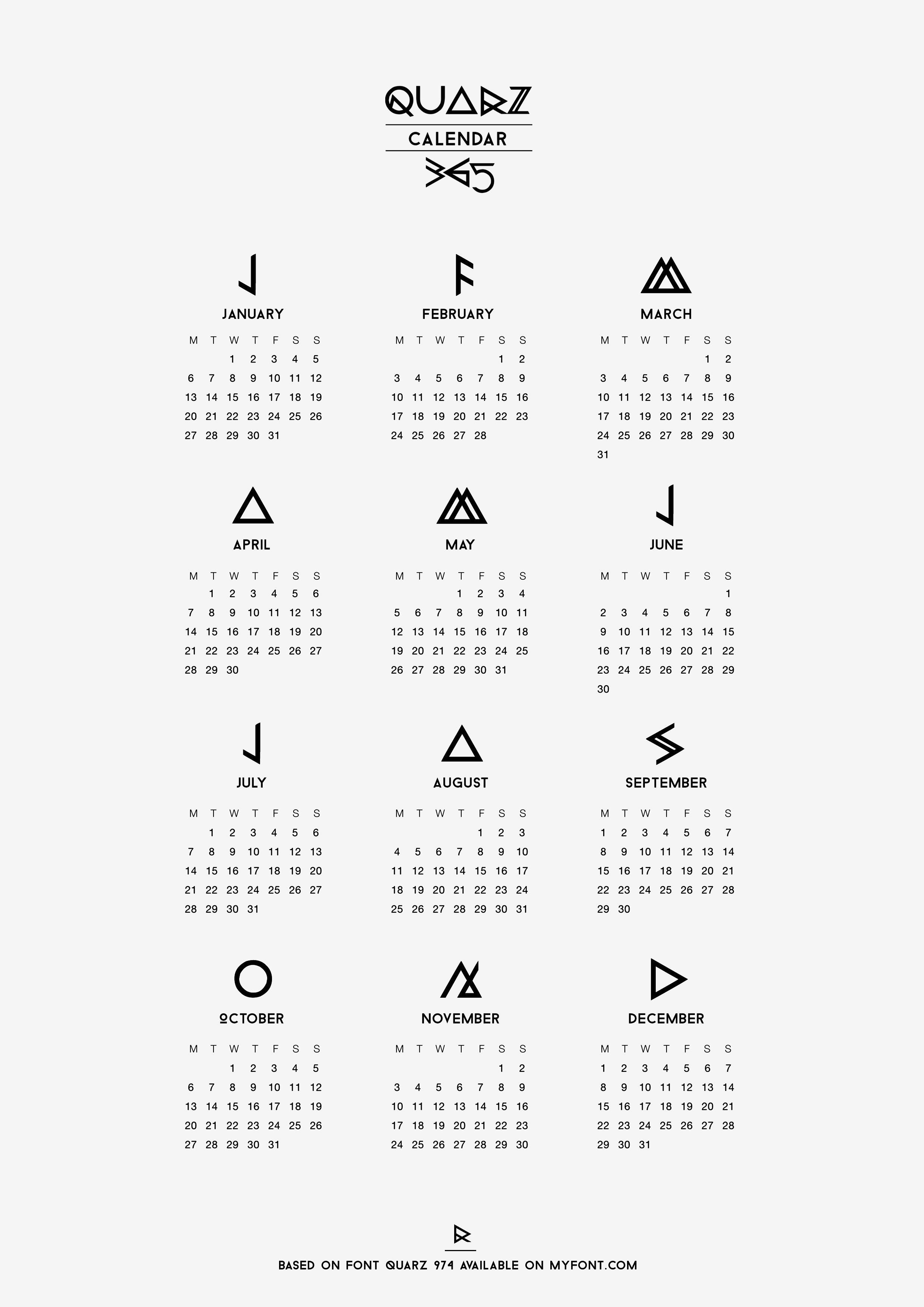 Typography Printable Calendar : Happy new year followers printable calendar graphic
