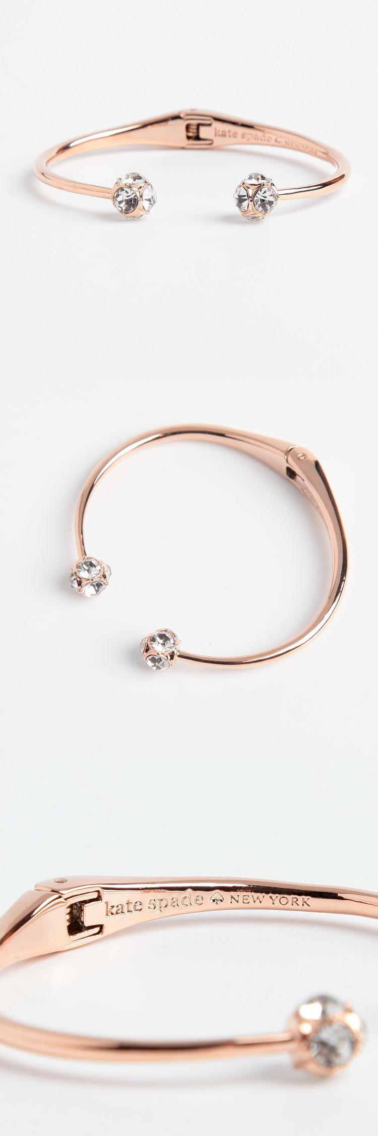 Bracelets 50637 Kate Spade Rose Gold Crystal Hinged Bangle Cuff Bracelet New