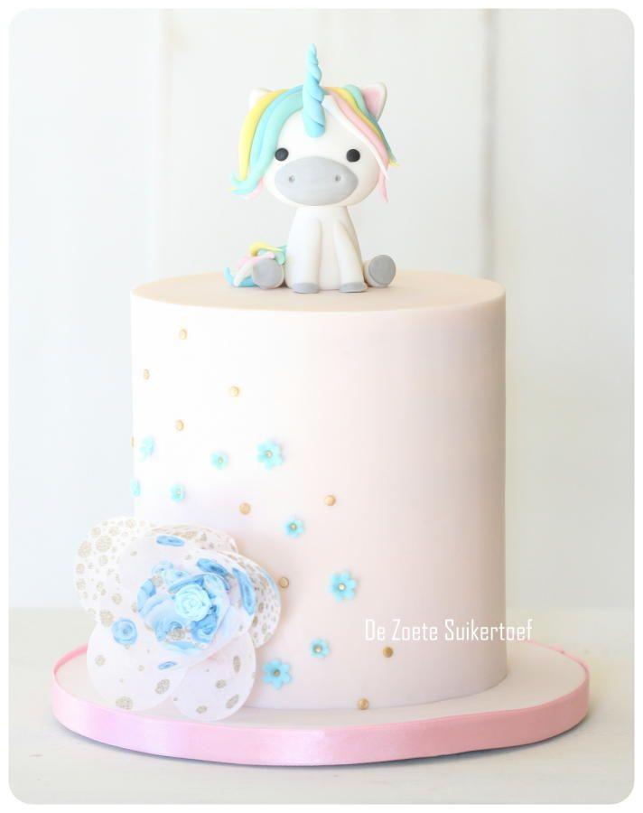Unicorn, birthday cake for a little girl. - Cake by De Zoete Suikertoef