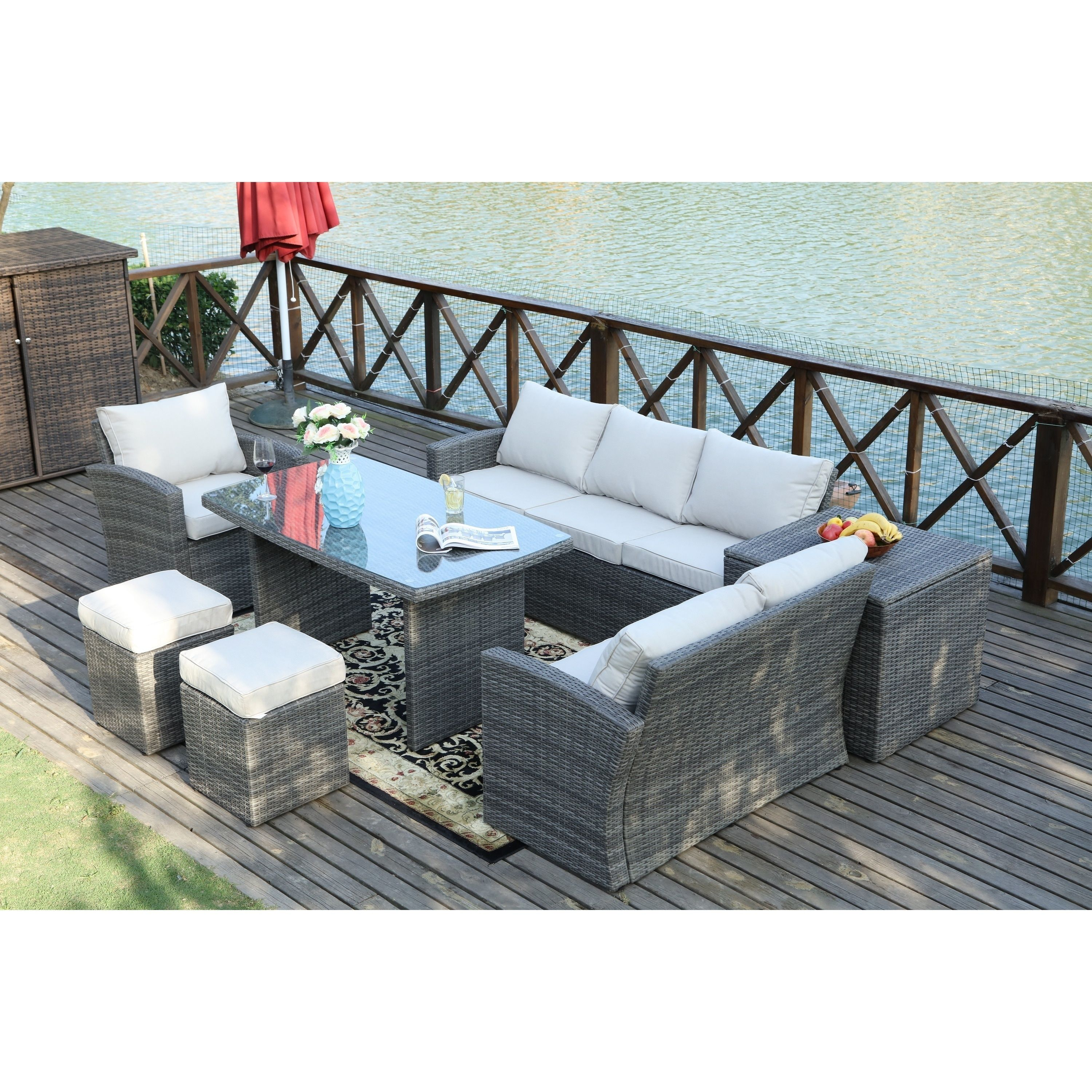 Direct wicker cannes outdoor 7 piece patio furniture set with side storage box grey rattan with beige cushion size 7 piece sets aluminum