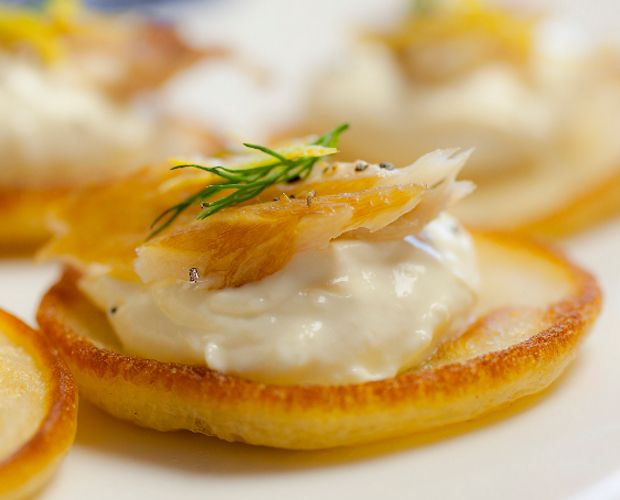 Hot Smoked Mackerel and Horseradish Blinis