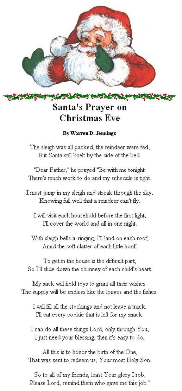 Finals Week Christmas Poem : finals, christmas, Santas, Prayer, Christmas, Prayer,, Poems,, Meaning