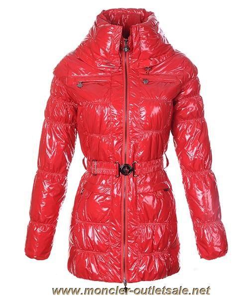 6945c88cd220 Discounts Moncler Womens Down Coats Skinny Zip Decorative Belt Red ...