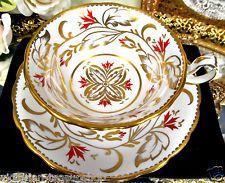 ROYAL CHELSEA TEA CUP AND SAUCER ORANGE FLORAL GOLD GILT TEACUP  007500