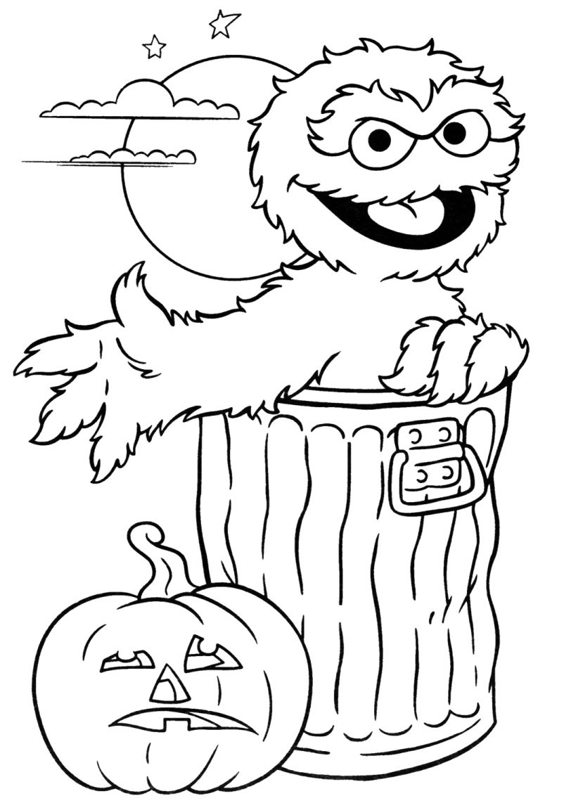Print Oscar Sesame Street Halloween Coloring Pages Or