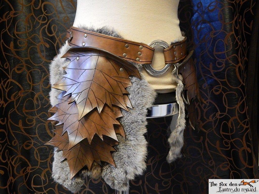 spring or fall color with fur option.LARP 4 leaf version Leather leaf tasset