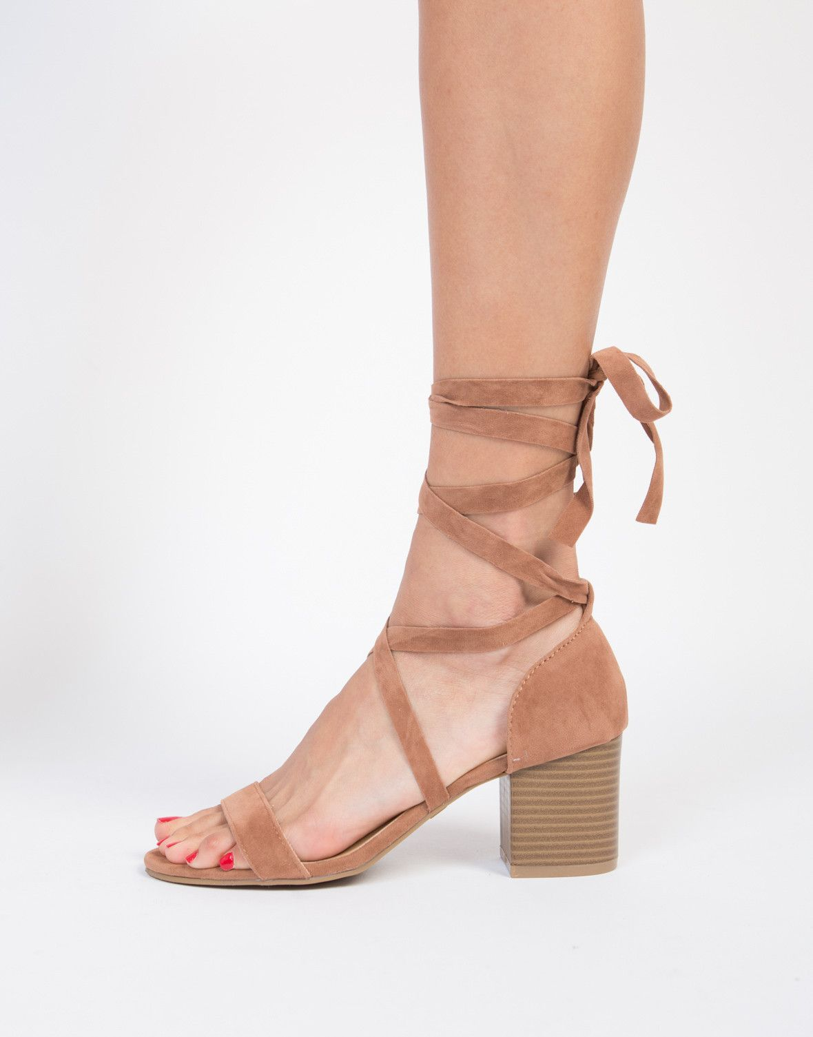 2383e537b382 Your new favorite pair of sandals are officially here. These camel Lace-Up  Block Heel Sandals are pretty much a must for your summer wardrobe needs.
