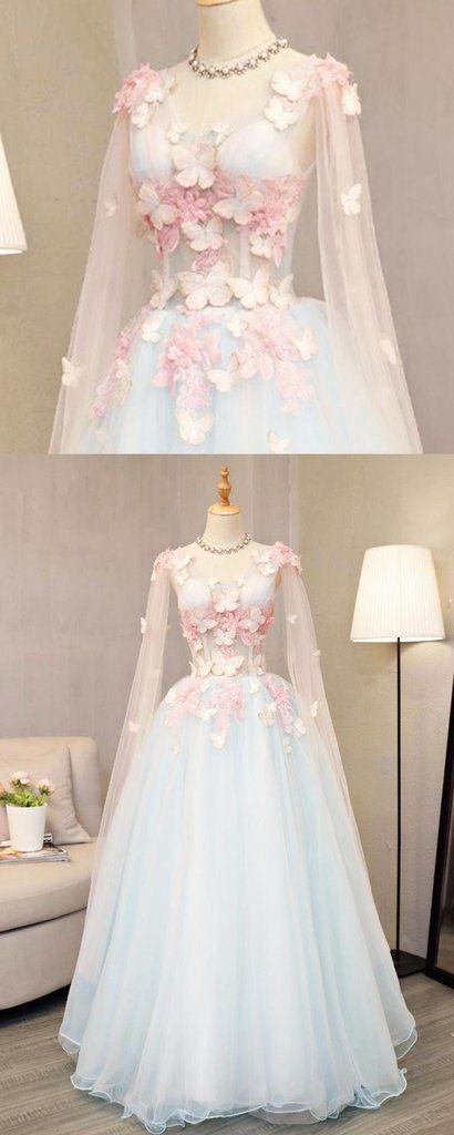 Sky blue tulle long A-line sweet 16 prom dress, long V neck ...