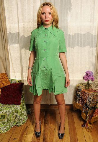 Vintage 60's Mint Green Shirt Mini Dress UK 14 - Lovethebaroness vintage #60sdress #mod #twiggystyle #mini