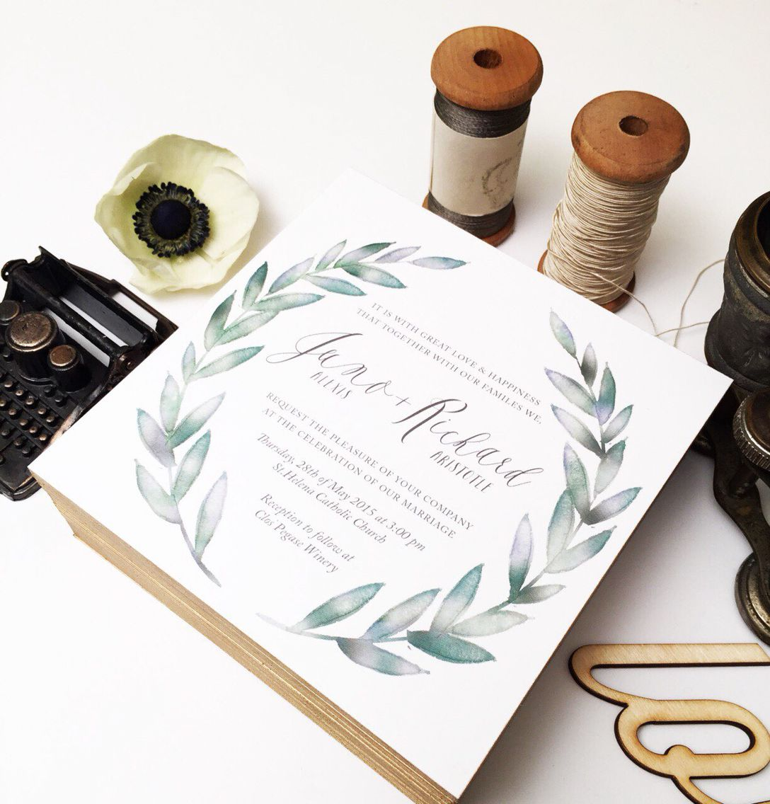 Thick board invitations with gold edges, design and wording from arrow creative. Simple and sweet! #weddinginvitation #wedding #modernrustic