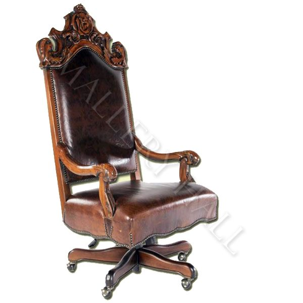 custom made leather office chair featuring ornate carving on wood framing and comfortable. Black Bedroom Furniture Sets. Home Design Ideas
