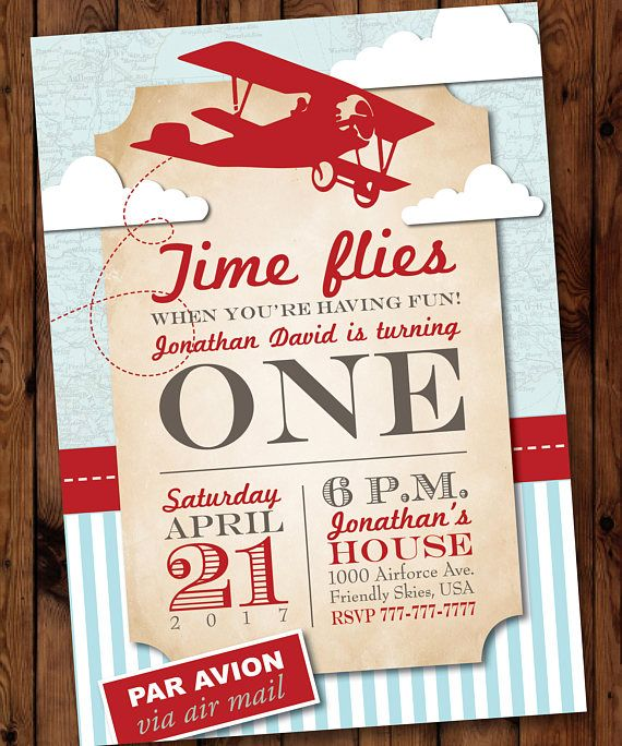 Airplane First Birthday Party Invitation, Vintage Plane