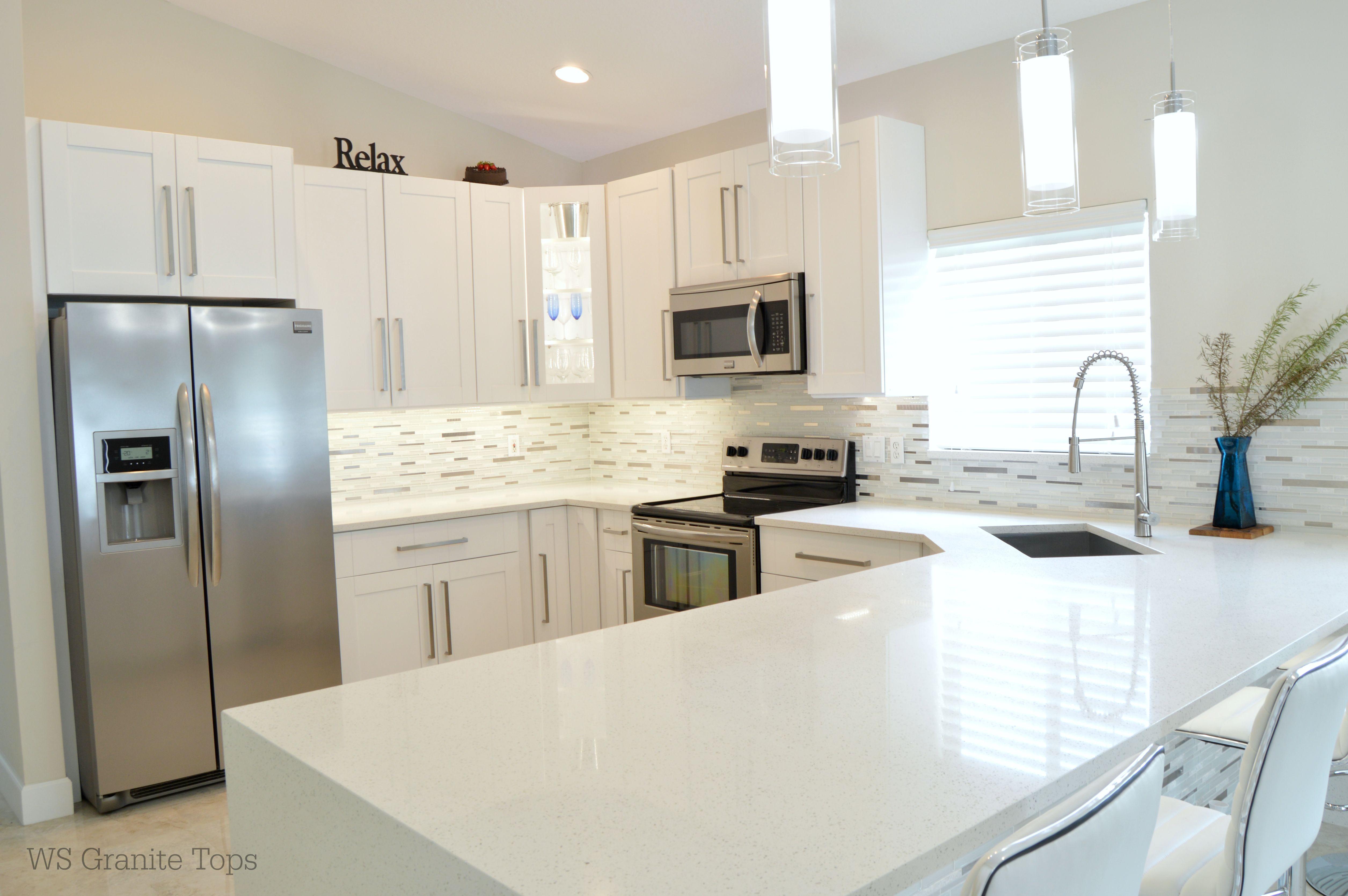Complete kitchen renovation Countertops: MSI Quartz Sparkling White ...