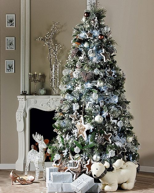 silver and white Christmas tree Love the color combo, but maybe a