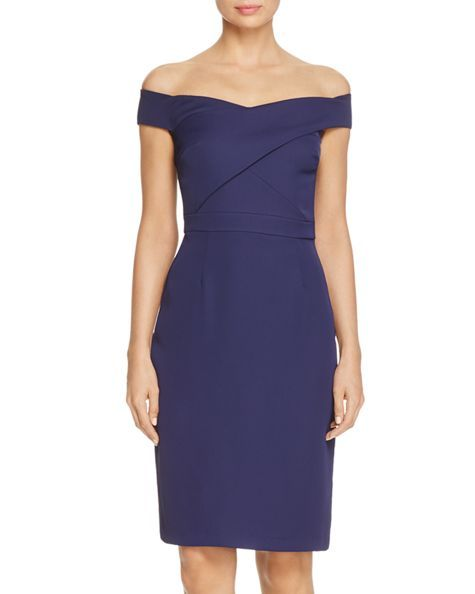 Laundry by Shelli Segal Off-the-Shoulder Crossover Sheath Dress