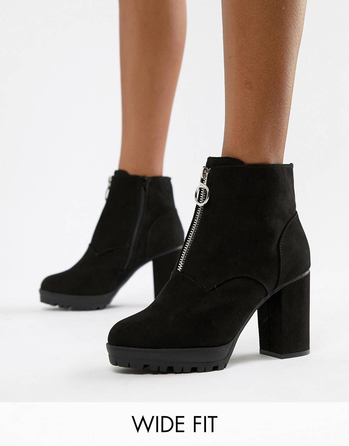 01dae5ec679 New Look Wide Fit Suedette Zip Through Heeled Boot in 2019   Asos ...