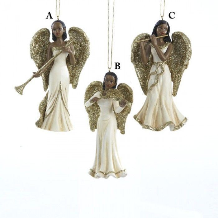 Winter's Blush African American Angel Christmas Ornaments - Winter's Blush African American Angel Christmas Ornaments Holiday