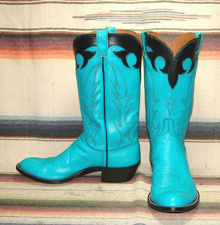 663c9719690 Vintage custom cowboy boots in bright turquoise and black. | Vintage ...