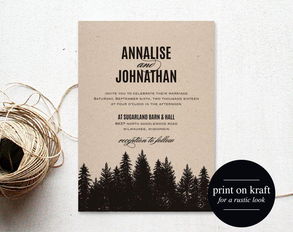 Rustic Wedding Invitation Printable, Wedding Invitation Template ...