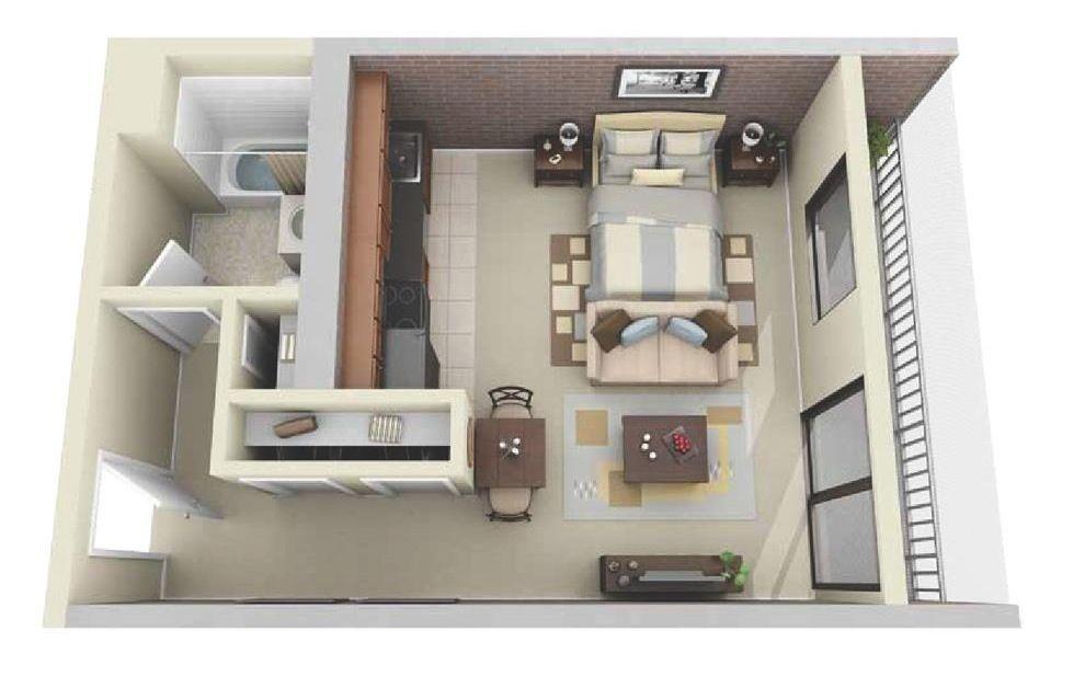 Planos de apartamentos pequeños de un dormitorio Planos de