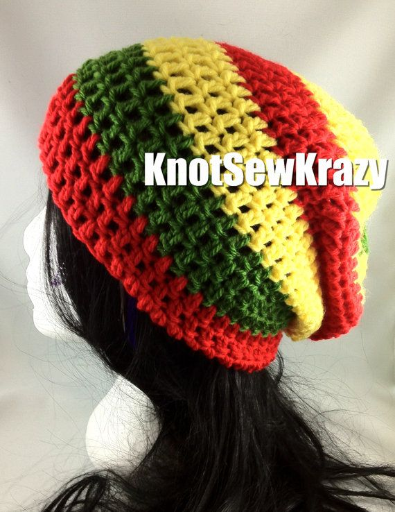 Slouchy Beanie Crochet Hat Handmade - Rasta with Red Yellow and ...