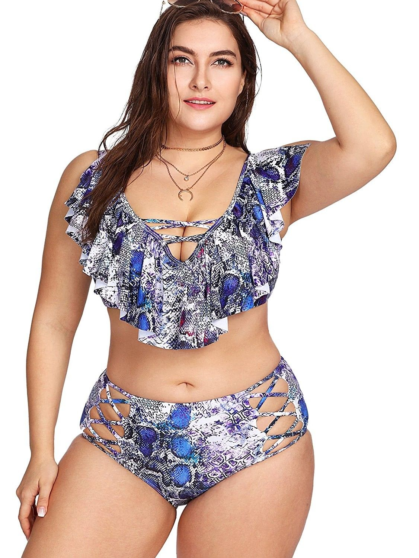 88c20467b9 Women s Plus Size Cutout High Waist Criss Cross Flounce Falbala ...