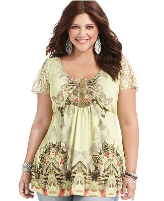 One World Plus Size Top, Short-Sleeve Printed Babydoll - Plus Size ...