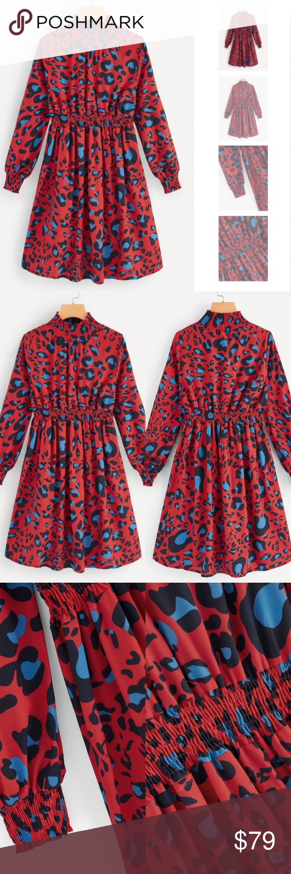 3ad45ba9fd *JUST IN* RED LEOPARD PRINT DRESS FEATURES: ELASTIC WAIST. STAND COLLAR.  LONG SLEEVES. 97% POLYESTER 3% SPANDEX LEOPARD COLORS INCLUDE: BLUE BLACK &  RED.