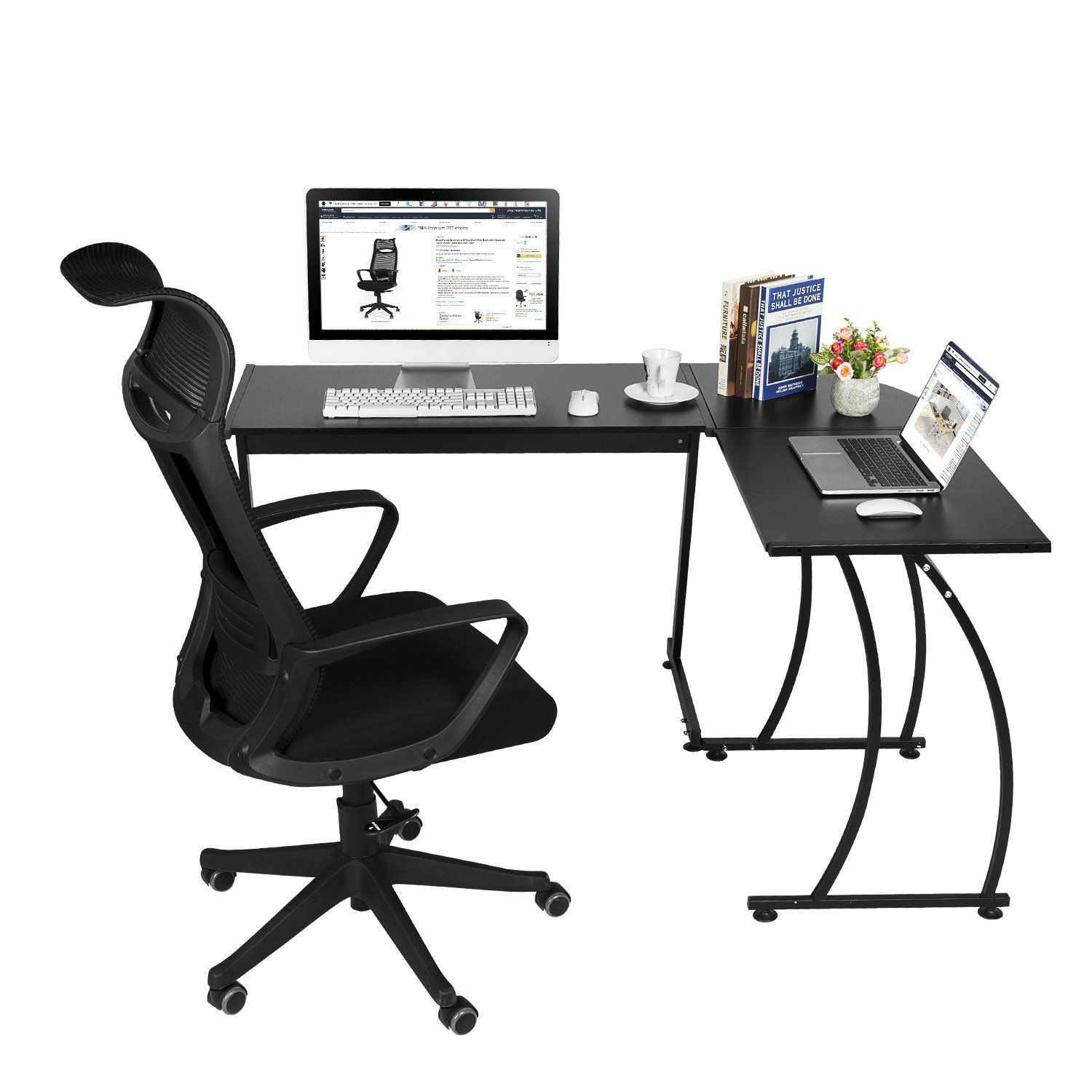 Greenforest Lshape Corner Computer Office Desk Pc Laptop Table Workstation Home Office 3pieceblack You C Computer Desks For Home Pc Desk L Shaped Corner Desk