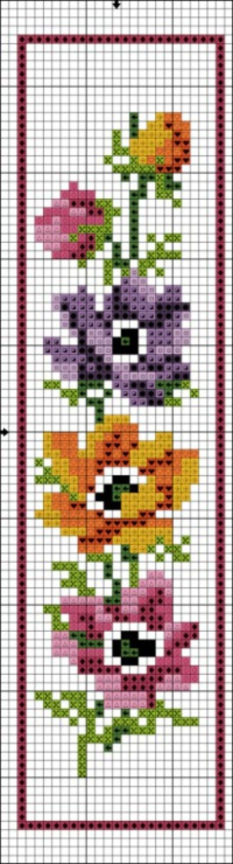 Créer Ses Grilles De Point De Croix : créer, grilles, point, croix, Marque-pages, Fleurs, Cross, Stitch, Bookmarks,, Stitch,, Flowers