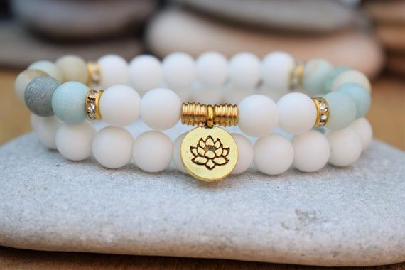 Lotus Bracelets For Women Amazonite Bracelet Mala Bracelet Stack