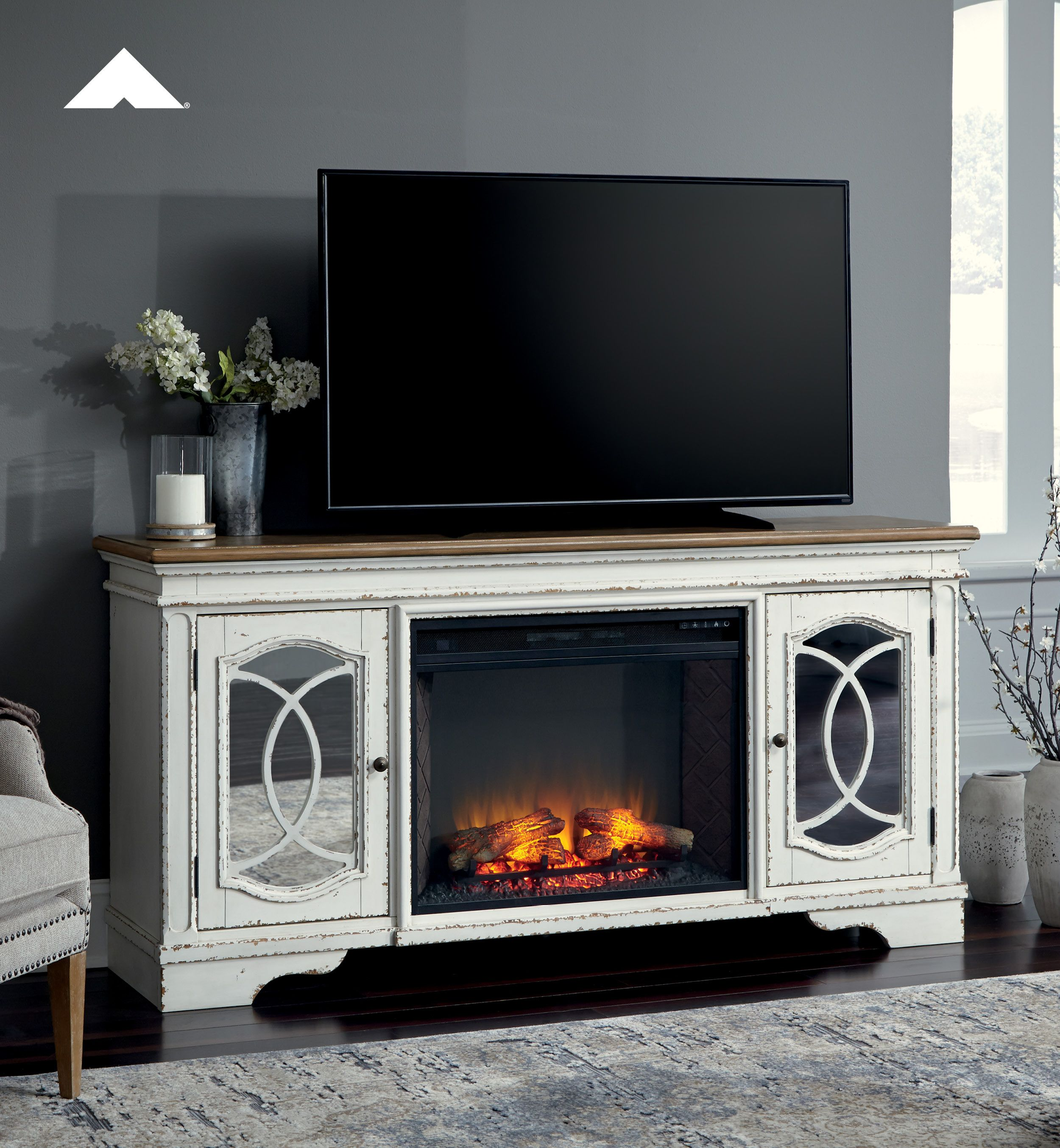 Raelyn Chipped White Tv Stand W Fireplace Option Elevating The