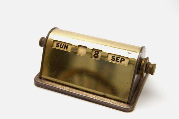 Vintage Brass Perpetual Desk Calender by HeartOfGoldBlog on Etsy, $27.00