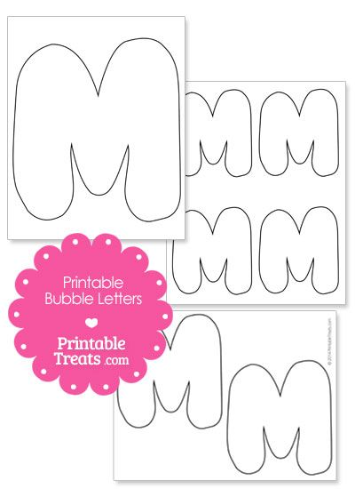 Printable Bubble Letter M Template From Printabletreats Com Shapes
