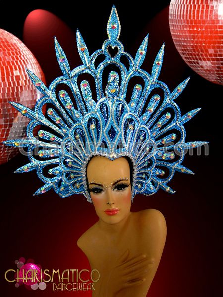 Spiked Crystal and Silver Accented Blue Glitter Showgirl/'s Cabaret Headdress
