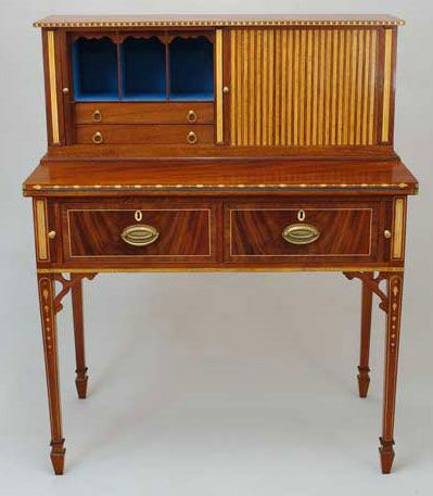 Elegant Robert Millard Reproduction Of A Federal Period Tambour Desk   Handsomely  Detailed And Crafted