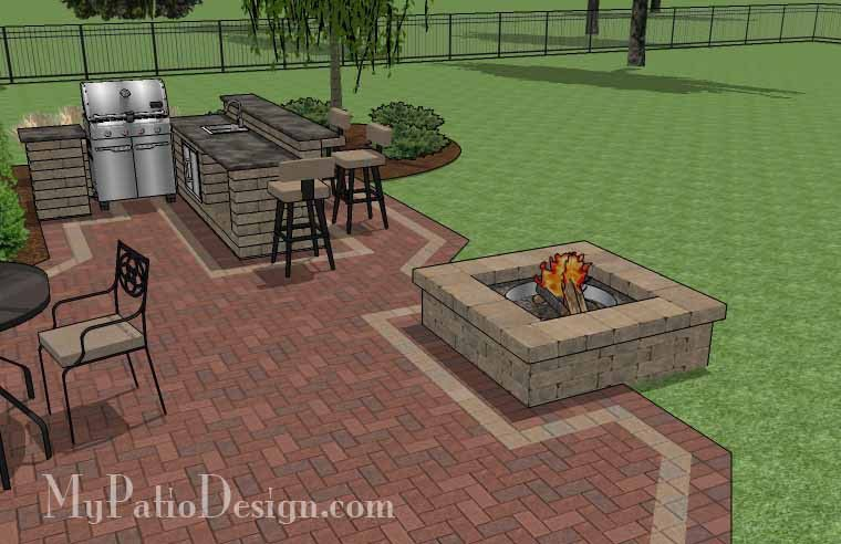 Large Courtyard Brick Patio Design With Outdoor Kitchen And Fire Interesting Outdoor Kitchens And Patios Designs Decorating Inspiration