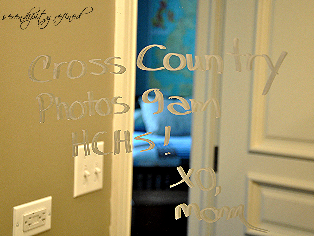 Mornings are hectic leave reminder notes on the bathroom mirror in ...