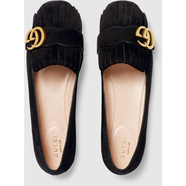 Gucci Suede Ballet Flat ($630) ❤ liked on Polyvore featuring shoes, flats,  gucci shoes, suede shoes, ballet pumps, black ballerina shoes and black …
