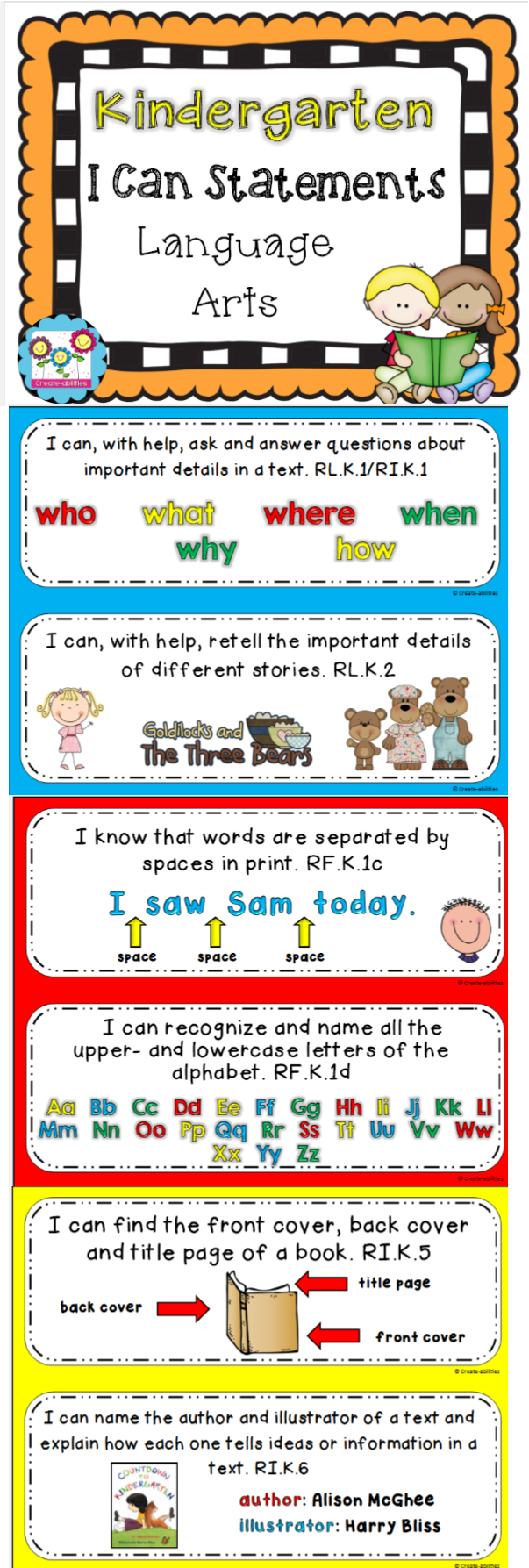 Kindergarten I Can Statements for ELA! Fantastic resource! $ #kindergarten  #Icanstatements #commoncore #languagearts
