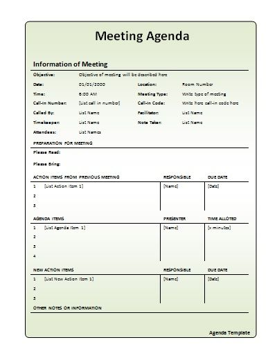 Meeting Agenda Template  Work    Template Pta And
