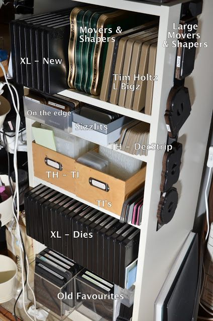 Storage ideas for Sizzix dies.  Entire blog devoted to crafting storage ideas.