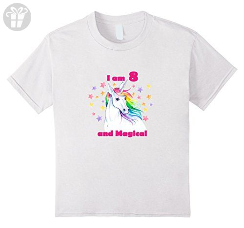 Kids 8 Year Old Birthday Number Unicorn Magical T Shirt 6 White