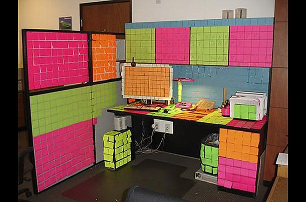 Wonderful office cubicle decoration with colorful brick for How to decorate your office desk