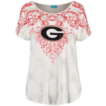 Georgia Bulldogs Women's Cream Victorian Print Dolman Tunic