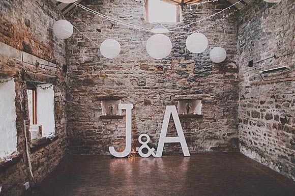 Rustic barn wedding initials decor