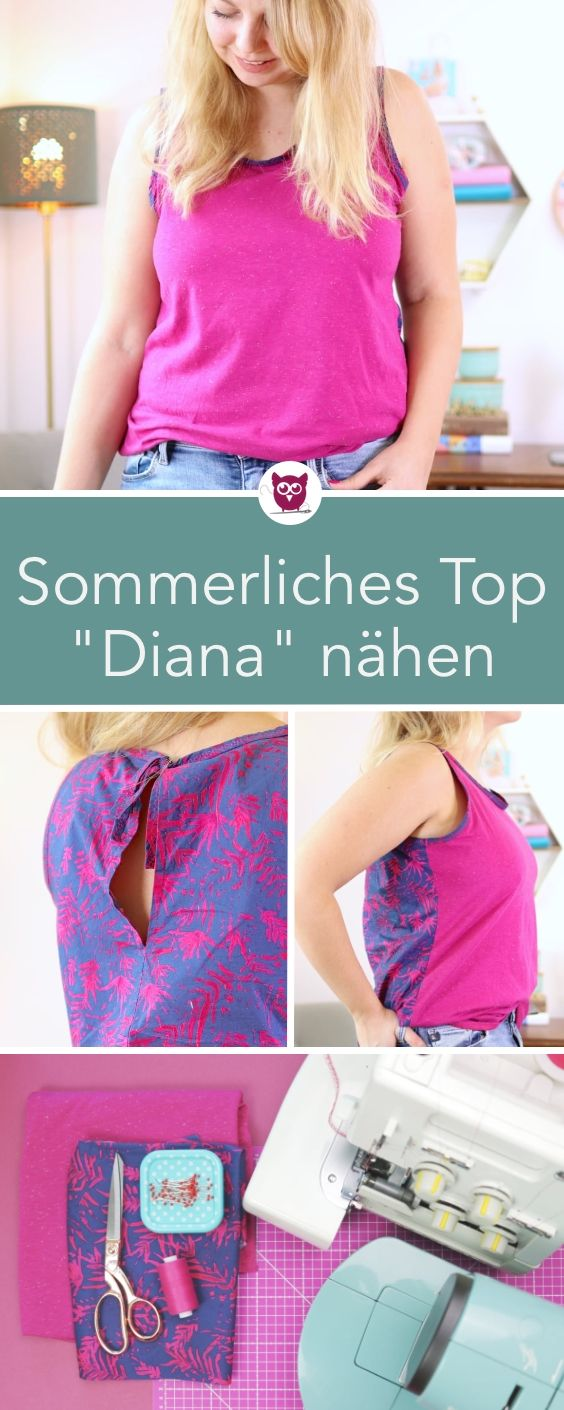 """Sommerliches Top / Bluse """"Diana"""" nähen DIY Eule Diana"""
