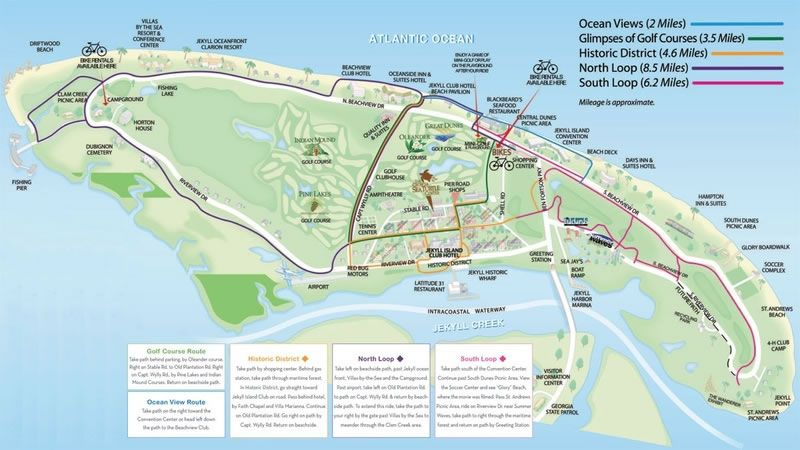 Jekyll Island Map Attractions Jekyll Island Bicycle Rentals, Bike Pathways Map, Segway Tours of